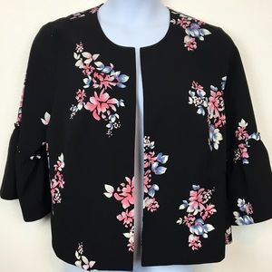 Lane Bryant Open Front Bell Sleeve Floral Jacket